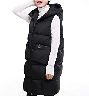 Women's Fashion Down Vest Full Zip Jacket, Lightweight Casual Stand Collar Outdoor Vest with Pockets (Color : Black, Size : L)