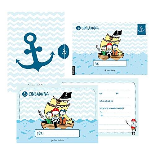 12 Einladungskarten Geburtstag Junge (Piraten). Handgemachte Geburtstag Einladungskarten zum Kindergeburtstag incl. 12 liebevollen Hand designten ... hochwertigen Karton Box. By Lisa Wirth