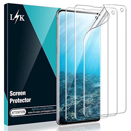 L K 3 Stücke Schutzfolie für Samsung Galaxy S10, Galaxy S10 Folie Bildschirmschutzfolie [Blasenfreie] [Fingerabdruck-ID unterstützen] Klar HD Weich Folie