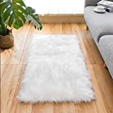 Ultra Soft Faux Fur Area Rug White Fluffy Rug Plush Chair Cover Seat Pad Fuzzy Carpet Furry Beside Rugs for Bedroom Floor Sofa Living Room 2x4 Feet SERISSA (White)