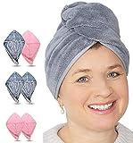 EliXito Juego de turbantes para pelo largo y corto, toalla d