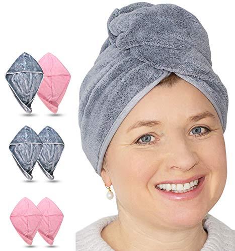 EliXito Haarturban 2er Set - Mikrofaser Handtuch für Lange & Kurze Haare - Samtig weiches Turban Handtuch mit Knopf - Für Kinder & Erwachsene Schnelltrocknend Muttertag