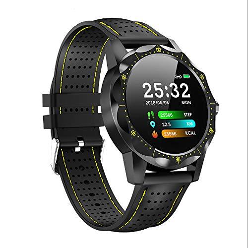 WWSUNNY Smart Watch, Cardiofrequenzimetro IP68 Avanzato Orologio da Polso Sportivo a Commutazione Libera Impermeabile Multifunzione-Giallo
