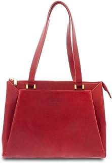 GIUDI ® - Borsa Donna in vacchetta, classica, a spalla, tracolla, Made in Italy, vera pelle. (Rosso)