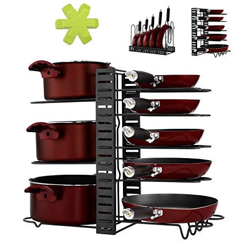 Magicfly フライパンスタンド (8仕切り フライパンラック) 鍋蓋収納 3インストール方法 ふたスタンド 収納マット6枚付 黒