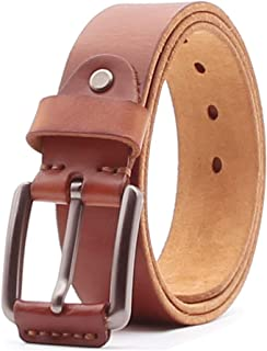 Genuine Leather Dress Casual Belts with Prong Buckle for Jeans Work Business
