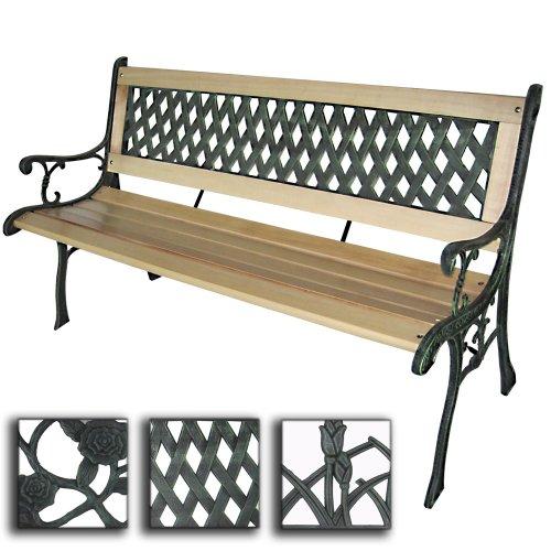 Miadomodo Panca giardino esterno panca in legno con ghisa ca. 122 x 56 x 74 cm con design a croce