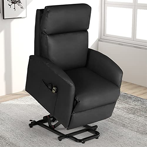 Electric Power Lift Recliner Chair for Elderly, Massage Home Theater Seating, Massage Recliner Sofa, PU Leather Single Reclining Chair with Thick Seat Cushion for Living Room (Black)