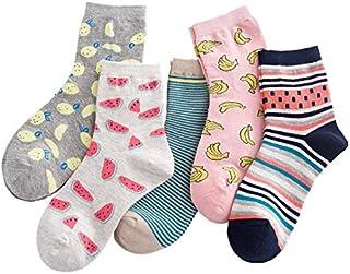 5 pares de calcetines de algodón graciosos calcetines de frutas de las niñas de las mujeres piña sandía a rayas plátano