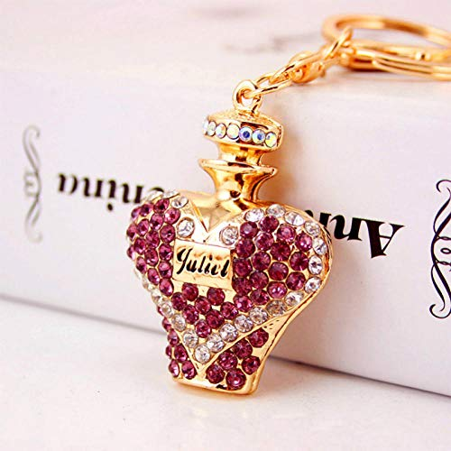 JJrainning Sleutelhanger Hartvormige parfum fles sleutelhanger kristal hanger hanger sleutelhanger handtas sieraden sleutelhanger