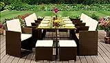 EIVD Juego de 13 muebles de ratán para patio de ratán, juego de cubos de jardín, sillas, sofá, mesa y muebles para exteriores (color A)