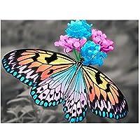 5D DIYフルダイモンドペインティング「Butterfly&Flower」3Dダイヤモンドペインティングラウンドラインストーンディアマントペインティング刺繡動物アートナンバーラインストーンアクセサリー40x50cmフレームなし
