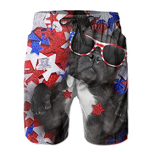 HARLEY BURTON Pantalones cortos de natación para hombre, estrellas de Estados Unidos, gafas de sol para perro, secado rápido, tabla de surf y playa con cordón ajustable