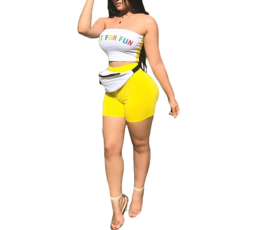 JUNBOON Women's Sexy Patchwork 2 Piece Outfit Letter Print Off Shoulder Crop Top Shorts Set Tracksuits Jumpsuits