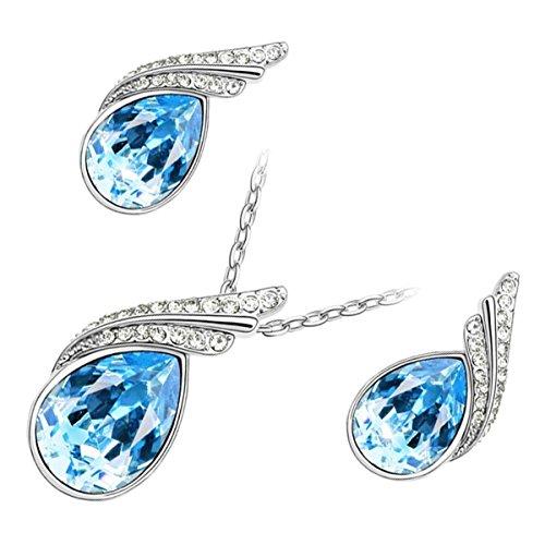 GWG Jewellery Juego de Joyas Mujer Regalo Conjunto Collar y Pendientes, Bañado en Oro Blanco 18K Cristal Central de Gota de Agua de Color Turquesa Azul con 2 Bandas de Cristales Claros para Mujeres