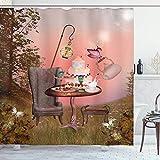 EdCott Geburtstag Alice im W&erland & Kuchen im Wald Cartoon Kunst Schmetterling Stoff Badezimmer Muster Dekoration Raumdekoration Zuhause Einfach zu reinigen Duschvorhang Licht Koralle