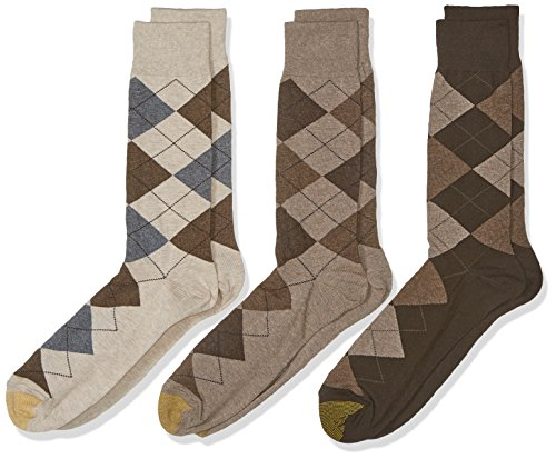 Gold Toe Men's 3-Pack Carlyle Argyle Crew Sock Taupe Argyle Mix Shoe Size: 12-16