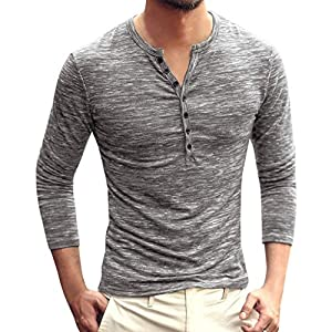 Men's Casual Vintage Long Sleeve Button Up V-Neck T-Shirt Henley Tops...