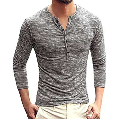 Men's Casual Vintage Long Sleeve Button Up V-Neck T-Shirt Henley Tops