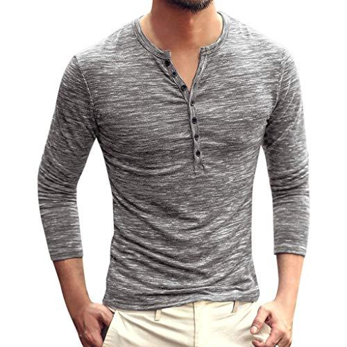 CAOQAO Camisa Hombre Manga Larga Otoño Casual Color sólido Botón de Manga Larga con Cuello en V Camiseta Delgada Tops Blusa