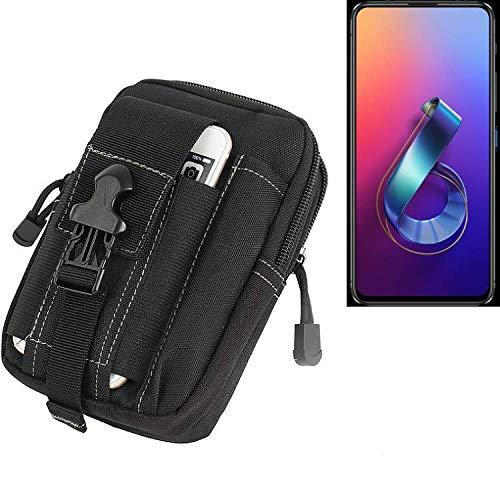 K-S-Trade Gürtel Tasche Für Asus Zenfone 6 (2019) Gürteltasche Holster Schutzhülle Handy Hülle Smartphone Outdoor Handyhülle Schwarz Zusatzfächer