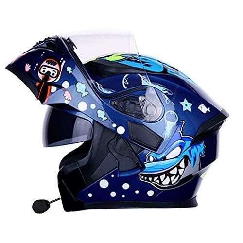 OUTO Personalidad Fresca con Bluetooth Hombres y Mujeres Motocicleta antivaho Cara Casco Doble Lente Cuatro Estaciones de Cara Completa Casco (Color : Shark-L)