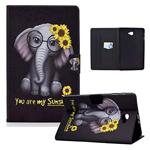 Hülle für Samsung Galaxy Tab A6 10,1 2016 Schutzhülle SM-T580/T585 Licht PU Leder Folio Flip Cover Tasche Hülle mit Auto Schlaf/Wach Funktion für Galaxy Tab A 10.1 Zoll 2016,Sunshine Elephant