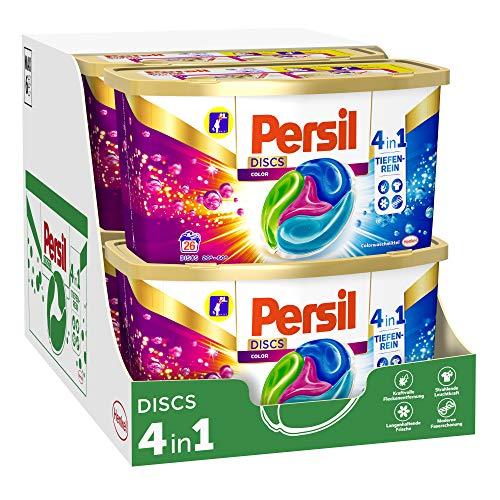 Persil 4in1 DISCS Color, Colorwaschmittel, 156 (6 x 26) Waschladungen für Fleckenentfernung, Leuchtkraft, Frische, Faserpflege und hygienisch reine Wäsche