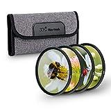 JJC Kit de filtro de primer plano de 49 mm (+2,+4,+8,+10) 4 piezas/set con bolsa de filtro de lente para cámara réflex Canon Nikon, Sony, Pentax, Olympus Fuji