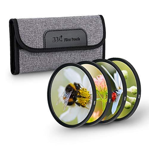 JJC Kit de filtro de primer plano de 77 mm para macro lente (+2,+4,+8,+10) 4 piezas/set con bolsa de filtro de lente para cámara réflex Canon Nikon, Sony, Pentax, Olympus Fuji