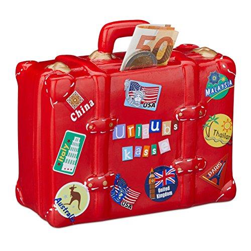 Relaxdays Spardose Urlaubskasse Koffer, Rot, One Size