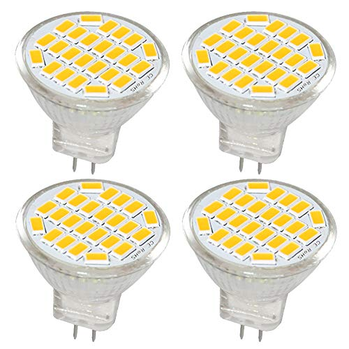 Jenyolon MR11 GU4 LED Lampen Warmweiss 3W AC/DC 12V, 3000K, 400Lm, Ersatz für 30W Halogenlampen Glühlampen, MR11 LED Leuchtmittel klein Birne Spot Licht, 120°Abstrahlwinkel, 4er Pack