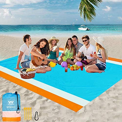 WIWIGO Beach Blanket Sandproof Beach Mat 79 X 83 for 4 7 Adults Waterproof Quick Drying Outdoor product image