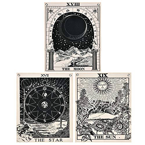Likiyol Pack of 3 Tarot Tapestries with Rustproof Grommets, Seamless Nails, The Sun Moon Star Tarot Card Tapestries Vertical Tapestry Wall Hanging (16 x 20 inches/Piece)
