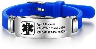 Personalized Bracelet Silicone Medical Bracelets Adjustable Sport Emergency ID Bracelets Free Engraving 9 Inches Waterproof ID Alert Bracelets for Men Women