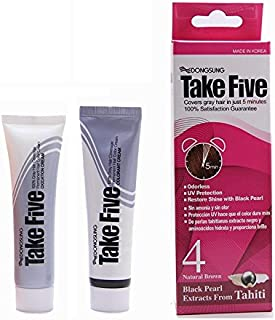 Dongsung Take Five Hair Dye Color #4 Natural Brown Covers Gray Hair Just in 5 Minutes Pearl Extract, Ammonia Free, No Odor, UV Protection