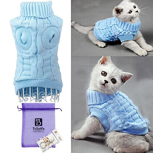 Bro'Bear Cable Knit Turtleneck Sweater for Small Dogs & Cats Knitwear (Blue, Medium)