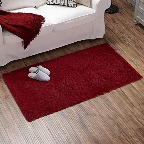 Teppich Wölkchen Hochflor-Plüsch-Teppich I Wohnzimmer Kinderzimmer Schlafzimmer Flur Läufer I rutschfeste Unterseite I 80 x 150 - Rot