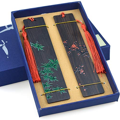 Segnalibri in legno fatti a mano Set Color Pittura Pagina-marker per gli amanti del libro, collezione-Disegni floreali cinesi