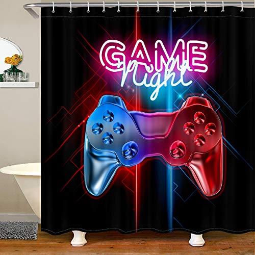 Gamepad Duschvorhang 180x180cm Videospiel-Controller Duschvorhang Textil Modern Gamer Action Buttons Wasserdichtes Polyester mit 12 Haken Stoff Badezimmer Dekor