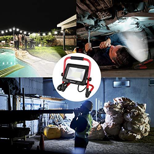 LED Baustrahler 50W, HYCHIKA LED Flutlicht 5500 LM 6500K, Wasserdichtes IP65 Arbeitsleuchter Drehbar, 3 m Kabel mit Stecker für Werkstatt Baustelle u.s.w - 3