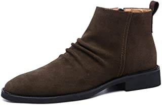 Sunny&Baby Ankle Boots for Men High Top Shoes Pull on Style&Side Zipper Matte Genuine Leather Suede Upper Wrinkle Retro Pointed Toe Outdoor Solid Color Durable (Color : Brown, Size : 6.5 UK)