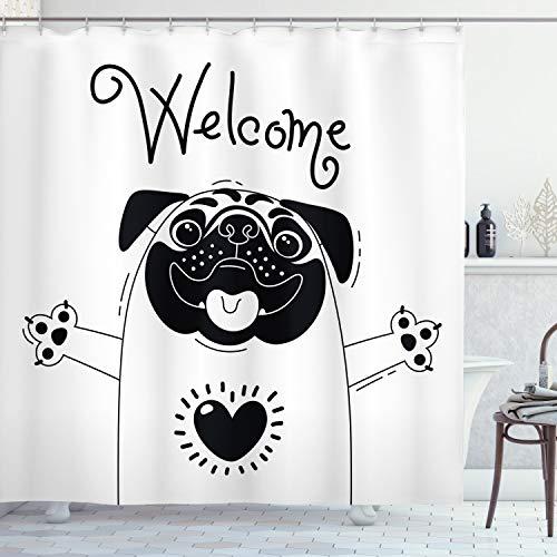 ABAKUHAUS Mops Duschvorhang, Schwarz-Weiß-Hund niedlich, mit 12 Ringe Set Wasserdicht Stielvoll Modern Farbfest und Schimmel Resistent, 175x180 cm, Weiß Schwarz