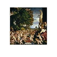 Titianティツィアーノヴィーナスへの奉仕 キャンバスアートポスターとォールアートピクチャープリント現代の家族の寝室のインテリアポスター20×20inch(50×50cm)