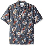 Amazon Brand - 28 Palms Men's Relaxed-Fit 100% Cotton Tropical Hawaiian Shirt, Blue Guitar Floral, X-Large