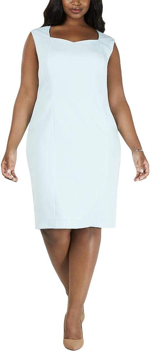 Kasper Womens Aqua Sleeveless Sweetheart Neckline Knee Length Sheath Wear to Work Dress Size 20W