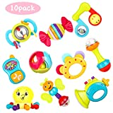 Zooawa Baby Rattles Teething Toys, 10pcs Baby Grab and Spin Handle Rattle Shaker Early Educational...