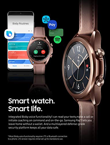 SAMSUNG Galaxy Watch 3 (41mm, GPS, Bluetooth) Smart Watch with Advanced Health Monitoring, Fitness Tracking, and Long Lasting Battery - Mystic Bronze (US Version)