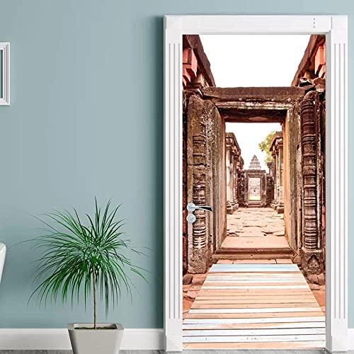YQLKD Decoración para Puertas Etiqueta Autoadhesiva Impermeable De La Puerta De La Entrada De La Puerta De Los Edificios Retro De DIY Mural