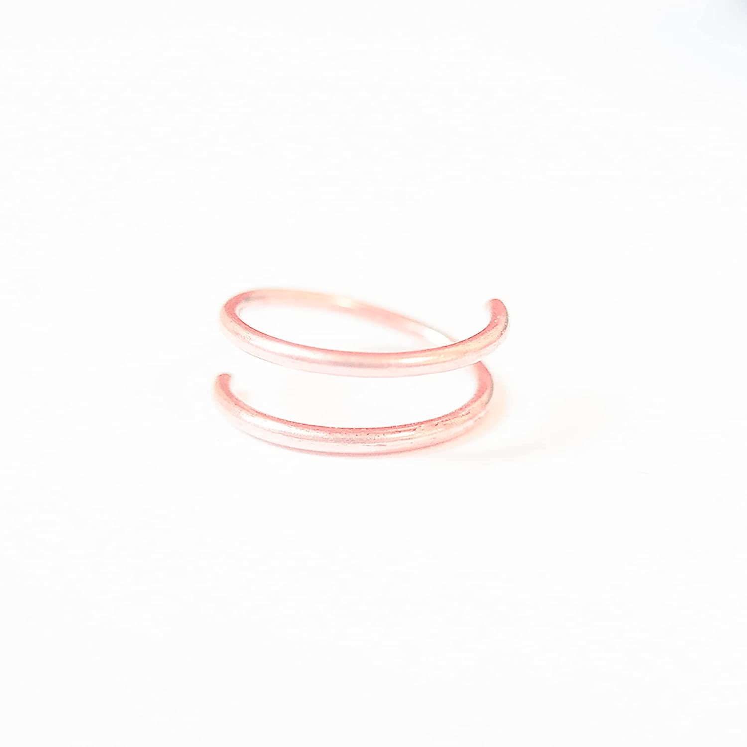 Super special price Double Hoop Nose Ring Pierced-Rose Gold Super sale period limited Single Piercin